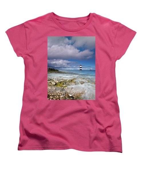 Women's T-Shirt (Standard Cut) featuring the photograph Fishing By The Lighthouse by Beverly Cash