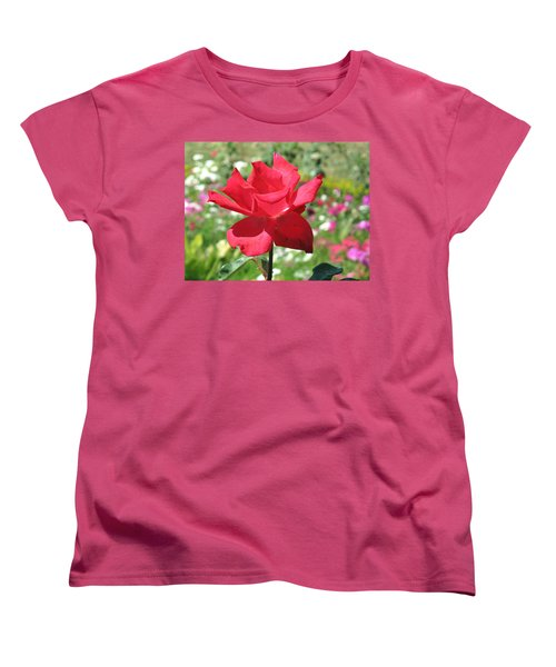 Women's T-Shirt (Standard Cut) featuring the photograph A Beautiful Red Flower Growing At Home by Ashish Agarwal