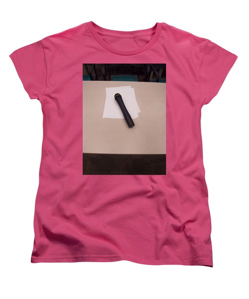 Women's T-Shirt (Standard Cut) featuring the photograph A Microphone On The Lectern Of A Presentation Room by Ashish Agarwal