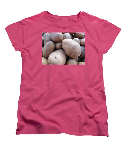 Women's T-Shirt (Standard Cut) featuring the photograph A Pile Of Large Lumpy Raw Potatoes by Ashish Agarwal