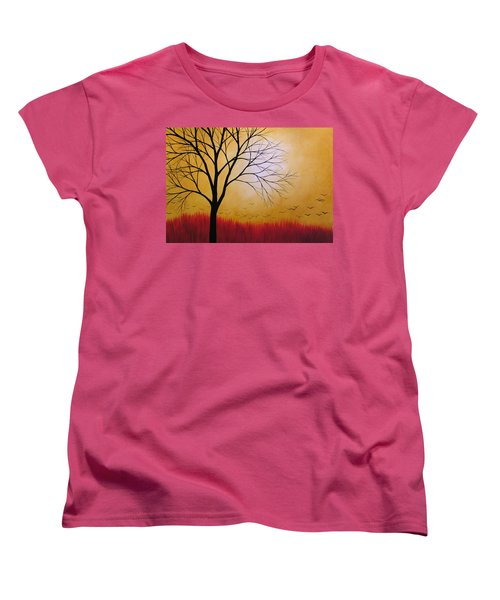 Women's T-Shirt (Standard Cut) featuring the painting Abstract Original Tree Painting Summers Anticipation By Amy Giacomelli by Amy Giacomelli