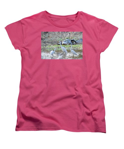 Women's T-Shirt (Standard Cut) featuring the photograph Alligator Looking For Food by Dan Friend