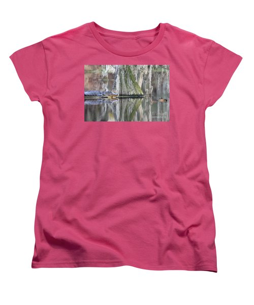 Women's T-Shirt (Standard Cut) featuring the photograph Alligator Waiting For Dinner by Dan Friend