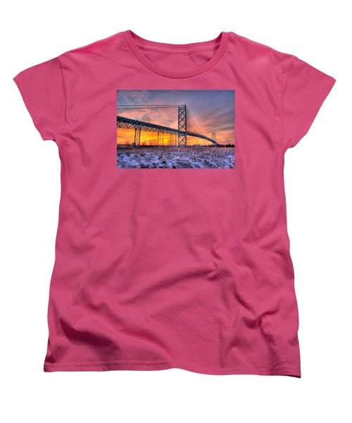 Ambassador Bridge Sunrise 1-16-2012  Detroit Mi Women's T-Shirt (Standard Cut) by Nicholas  Grunas