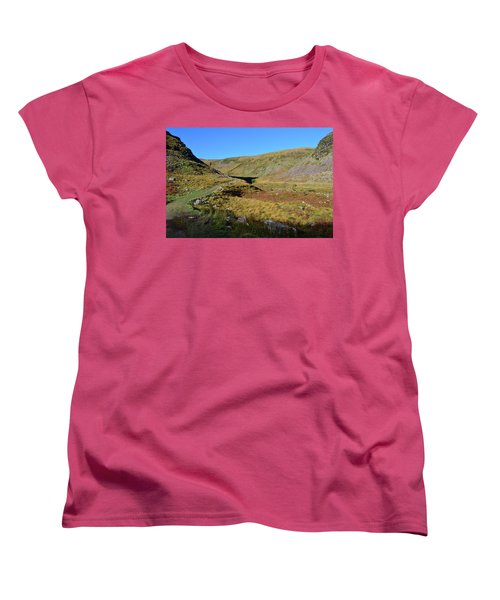 Annascaul Lake And Mountains Women's T-Shirt (Standard Cut) by Barbara Walsh