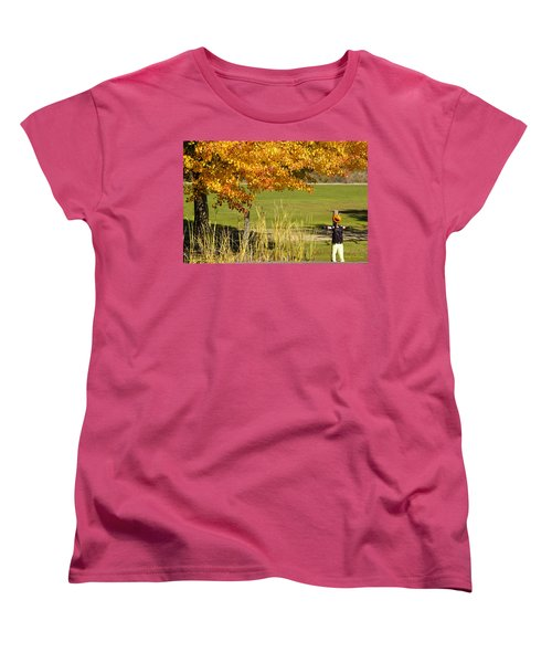 Autumn At The Schoolground Women's T-Shirt (Standard Cut) by Mick Anderson