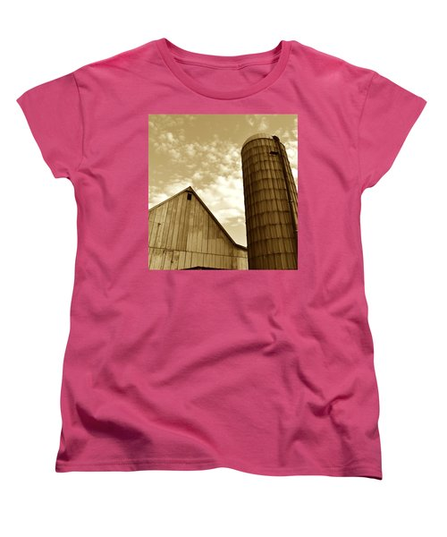 Barn And Silo In Sepia Women's T-Shirt (Standard Cut) by JD Grimes