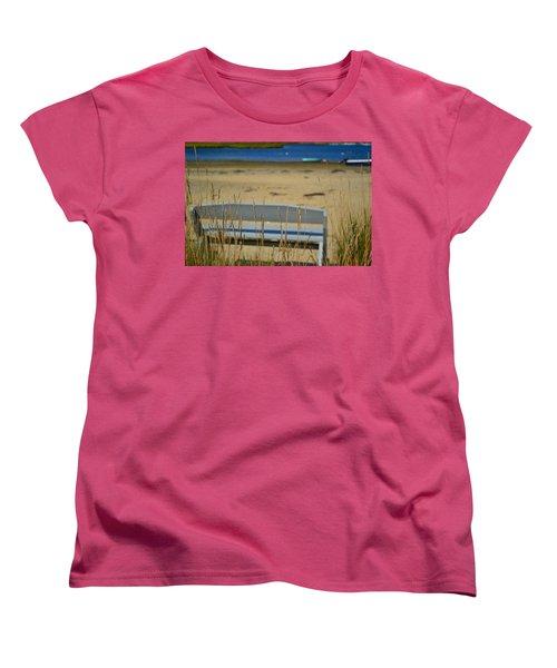 Bench On The Beach Women's T-Shirt (Standard Cut) by Bonnie Myszka