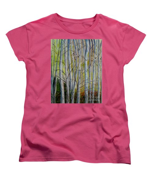 Women's T-Shirt (Standard Cut) featuring the painting Birch Forest by Julie Brugh Riffey