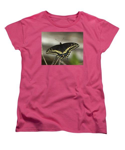 Black Swallowtail Din103 Women's T-Shirt (Standard Cut) by Gerry Gantt