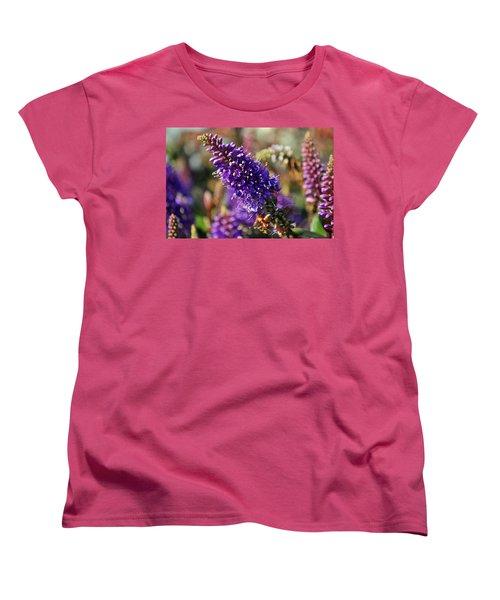 Blue Brush Bloom Women's T-Shirt (Standard Cut) by Tikvah's Hope