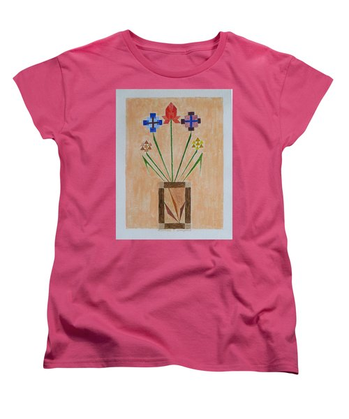 Women's T-Shirt (Standard Cut) featuring the painting Bouquet by Sonali Gangane
