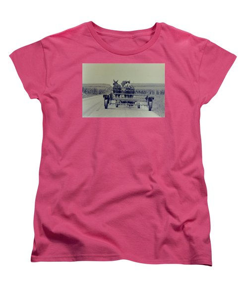 Women's T-Shirt (Standard Cut) featuring the photograph Boy Heads To Work by Mike Martin
