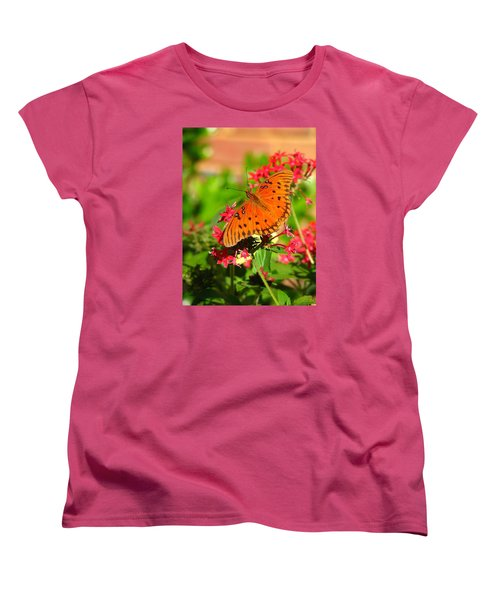 Women's T-Shirt (Standard Cut) featuring the photograph Butterfly On Pentas by Carla Parris