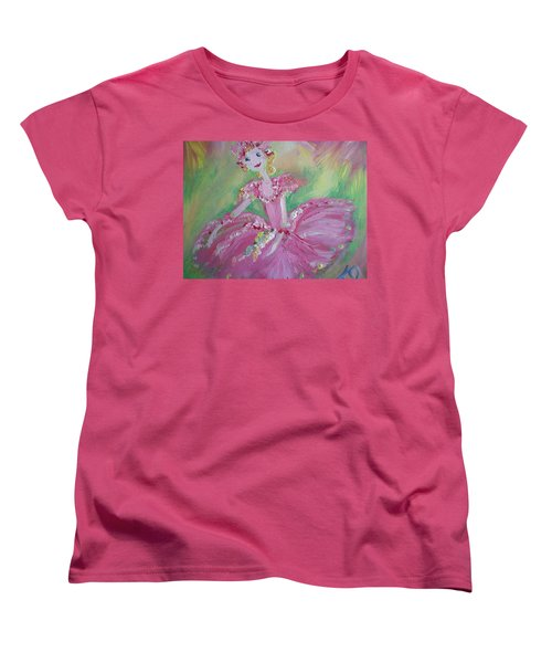 Women's T-Shirt (Standard Cut) featuring the painting Christmas Ballerina by Judith Desrosiers