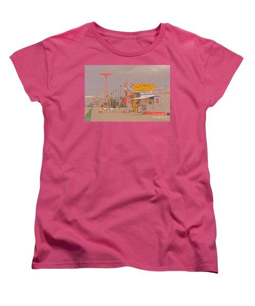 Coney Island Boardwalk Women's T-Shirt (Standard Cut) by Mark Gilman