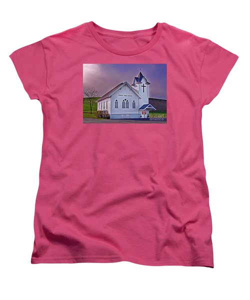 Women's T-Shirt (Standard Cut) featuring the photograph Country Church At Sunset Art Prints by Valerie Garner
