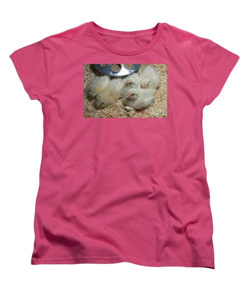 Women's T-Shirt (Standard Cut) featuring the photograph Cute And Fuzzy Chicks by Chalet Roome-Rigdon