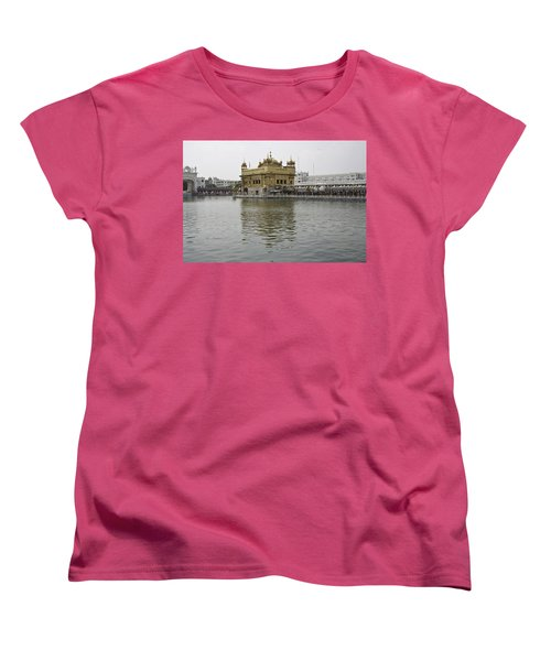 Women's T-Shirt (Standard Cut) featuring the photograph Darbar Sahib And Sarovar Inside The Golden Temple by Ashish Agarwal