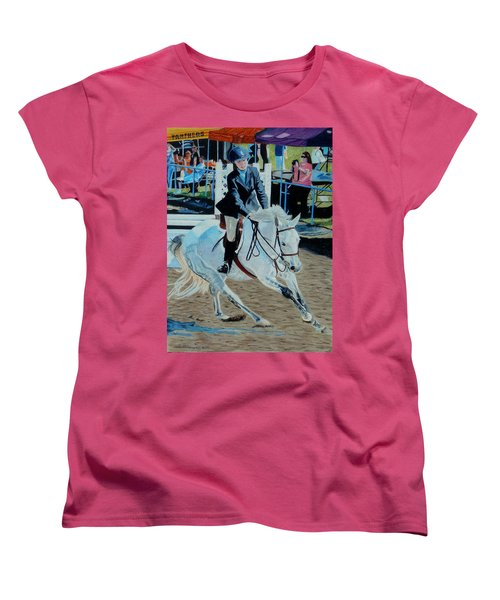 Determination - Horse And Rider - Horseshow Painting Women's T-Shirt (Standard Cut) by Patricia Barmatz