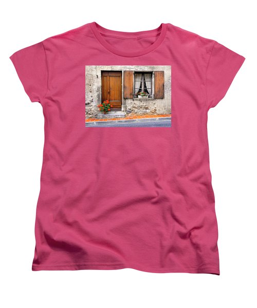 Women's T-Shirt (Standard Cut) featuring the photograph Doorway And Window In Provence France by Dave Mills