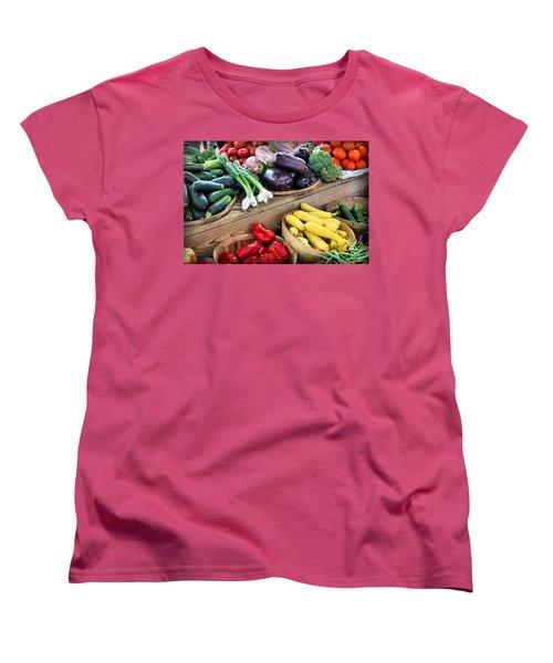 Farmers Market Summer Bounty Women's T-Shirt (Standard Cut) by Kristin Elmquist