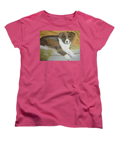 Women's T-Shirt (Standard Cut) featuring the painting Fat Puppy by Norm Starks