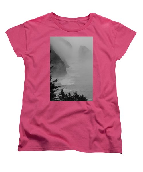 Fog And Cliffs Of The Oregon Coast Women's T-Shirt (Standard Cut) by Mick Anderson
