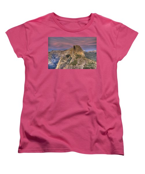Full Moon Rise Behind Half Dome Women's T-Shirt (Standard Cut) by Jim and Emily Bush