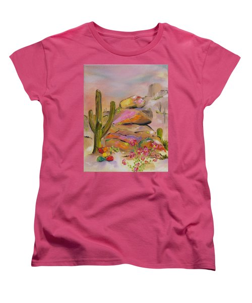 Women's T-Shirt (Standard Cut) featuring the painting Gold-lined Rocks by Judith Rhue