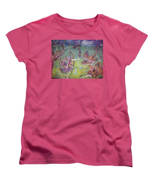 Women's T-Shirt (Standard Cut) featuring the painting Good Morning Fairies by Judith Desrosiers