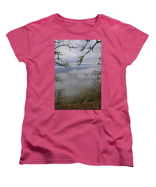 Grants Pass In The Fog Women's T-Shirt (Standard Cut) by Mick Anderson