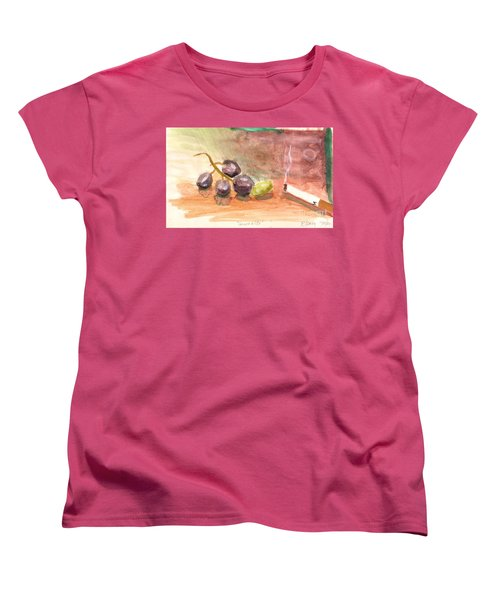Women's T-Shirt (Standard Cut) featuring the painting Grapeality by Rod Ismay