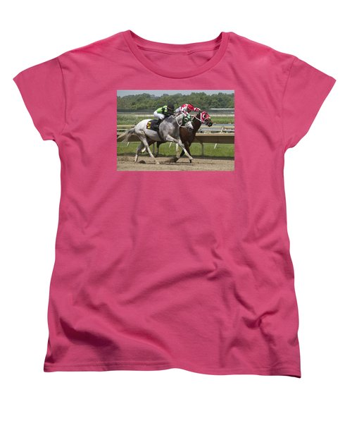 Women's T-Shirt (Standard Cut) featuring the photograph Gray Vs Bay by Alice Gipson