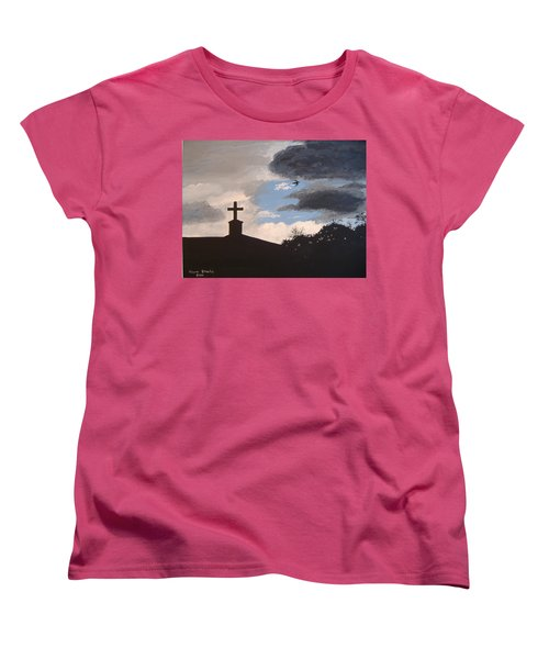 Women's T-Shirt (Standard Cut) featuring the painting Hope In The Storm by Norm Starks