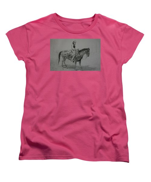 Women's T-Shirt (Standard Cut) featuring the drawing Horseman by Stacy C Bottoms