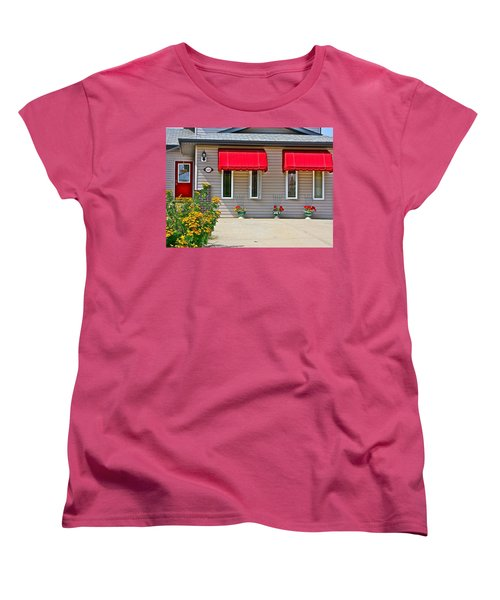 House With Red Shades. Women's T-Shirt (Standard Cut) by Johanna Bruwer
