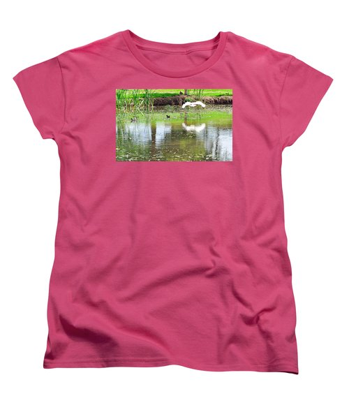 Ibis Over His Reflection Women's T-Shirt (Standard Cut) by Kaye Menner