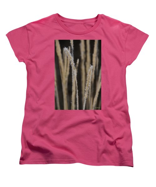 Ice Crystals On Tall Grass Women's T-Shirt (Standard Cut) by Mick Anderson