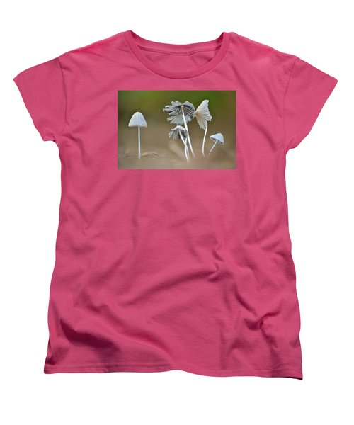 Women's T-Shirt (Standard Cut) featuring the photograph Ink-cap Mushrooms by JD Grimes