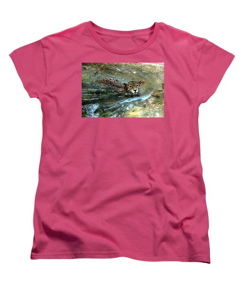 Women's T-Shirt (Standard Cut) featuring the photograph Jaguar In For A Swim by Kathy  White