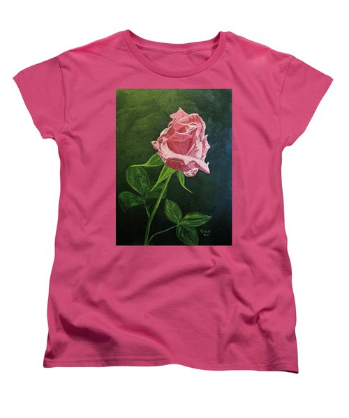 Women's T-Shirt (Standard Cut) featuring the painting Kiss Of The Morning Sun 2 by Wendy Shoults