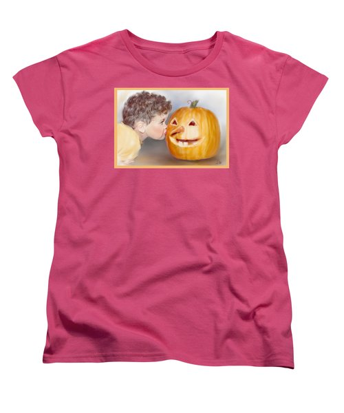 Women's T-Shirt (Standard Cut) featuring the painting Kissy Face by Bonnie Willis