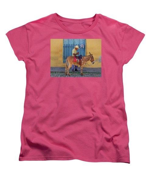 Women's T-Shirt (Standard Cut) featuring the photograph Man And A Donkey by Lynn Bolt