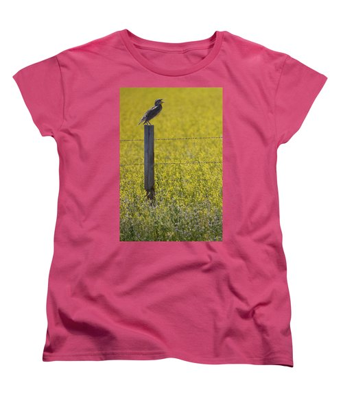 Meadowlark Singing Women's T-Shirt (Standard Cut) by Randall Nyhof