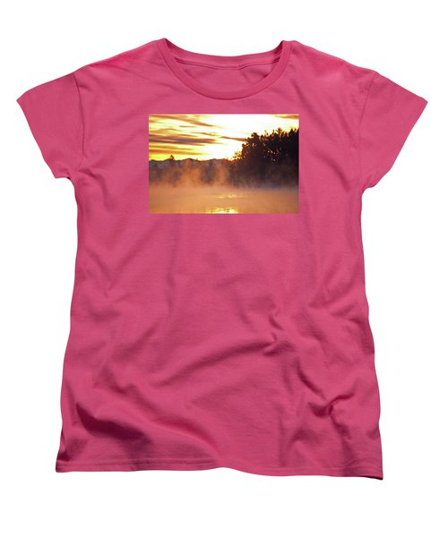 Women's T-Shirt (Standard Cut) featuring the photograph Misty Sunrise by Tikvah's Hope