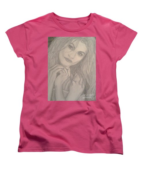 Women's T-Shirt (Standard Cut) featuring the drawing Model by Christy Saunders Church