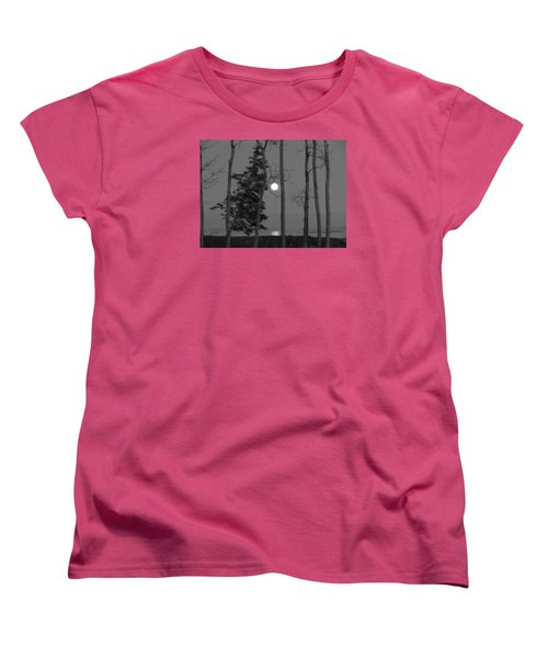 Women's T-Shirt (Standard Cut) featuring the photograph Moon Birches Black And White by Francine Frank