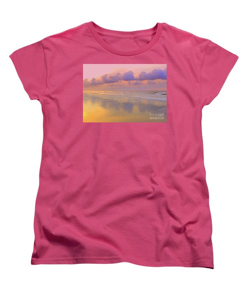Women's T-Shirt (Standard Cut) featuring the photograph Morning On The Beach  by Lydia Holly