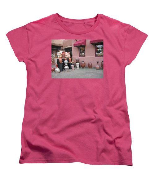 Women's T-Shirt (Standard Cut) featuring the photograph Native Jars And Vases Market by Dora Sofia Caputo Photographic Art and Design